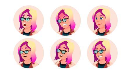 Avatar Icon Woman . Round Portrait. Cute Employer. Isolated Flat Cartoon Illustration