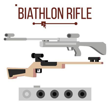 Biathlon Rifle . Sport Gun Equipment Target. Winter Game. Isolated Flat Illustration Archivio Fotografico - 128792911