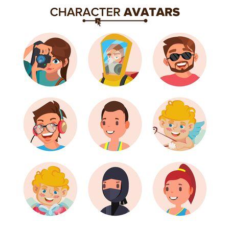 People Avatars Set . Face, Emotions. Default Character Avatar Placeholder. Flat, Cartoon, Comic Art Flat Isolated Illustration Фото со стока