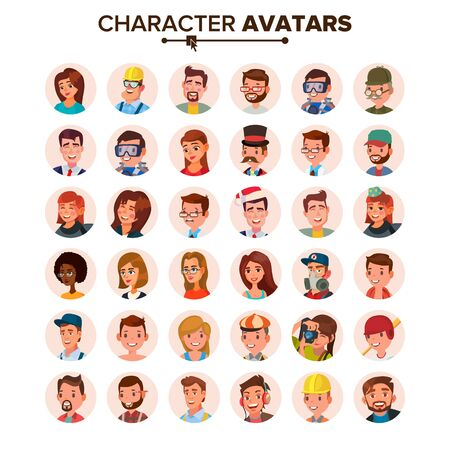 People Avatars Set . Face, Emotions. Default Characters Avatar Placeholder Collection. Cartoon, Comic Art Flat Isolated Illustration Stock Photo
