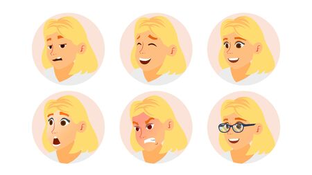 Business Woman Avatar . Blonde Woman Face, Emotions Set. Female Placeholder. Modern Business Girl Avatar Set. Face Isolated Illustration