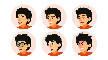 Junior Character Business People Avatar . Developer Teen Man Face, Emotions Set. Creative Avatar Placeholder. Cartoon Illustration
