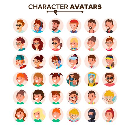 Character People Avatar Set . Face. Default Avatar Placeholder. Cartoon, Comic Art Flat Isolated Illustration Foto de archivo - 128792614