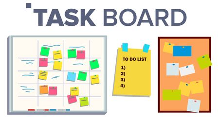 Task Board Set . Sticker Notes. Scrum. Tasks For Team Work. Progress White Board. Illustration