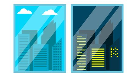 Day, Night Window View . Scene. Skyscraper, Sky. Night Office City Lights. Window Time View. Morning Afternoon. Isolated Illustration