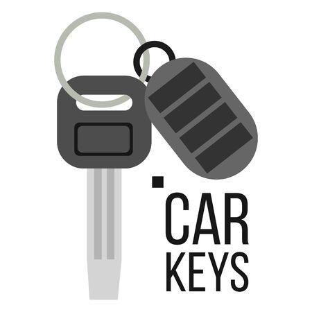 Keys Car . Icon Of Auto Key. Keychain Lock Sign. Isolated Illustration