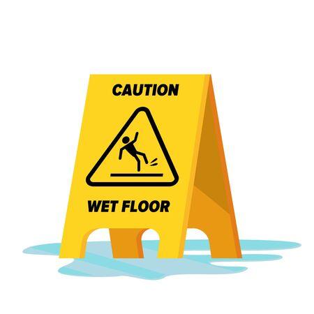 Wet Floor . Classic Yellow Caution Warning Wet Floor Sign. Isolated