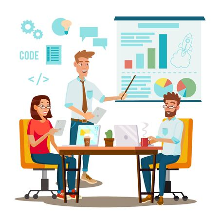 Brainstorming Process . Teamwork Staff Around Table. Creative Team Idea. Group Of Businessmen Meeting. Marketing Research. Flat Isolated Cartoon Illustration Фото со стока