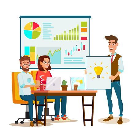 Team Work Brainstorming . Presentation Of The Project. Innovation Idea Discussion People. Designer, Programmer. Global Planning. Flat Isolated Cartoon Illustration