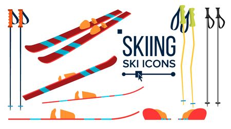 Skiing Icons . Different View. Winter Sport Equipment. Equipment. Mountain Vacation, Activity, Travel Flat Illustration Stockfoto