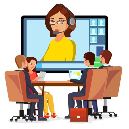 Video Meeting Online . Woman And Chat. Ceo And Employees. Business Meeting, Consultation, Conference Office, Seminar, Online Training Concept. Flat Cartoon