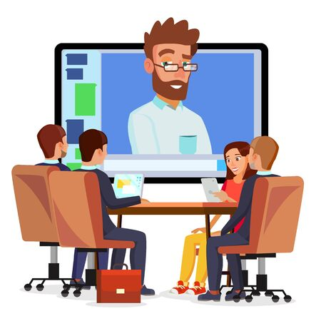 Online Video Conference . Man And Chat. Director Communicates With Staff. Webinar. Business Meeting, Consultation, Seminar, Online Training Concept. Flat Cartoon Фото со стока