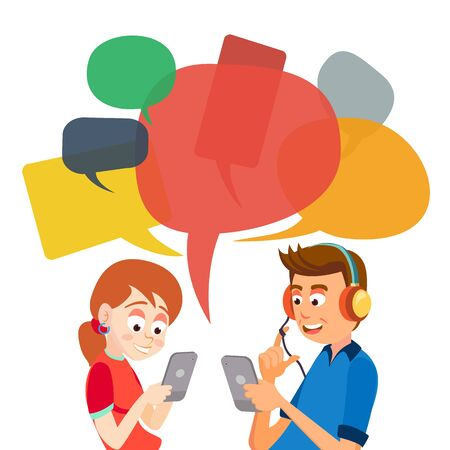 Messaggistica teenager del ragazzo e della ragazza. Comunicare su Internet. Chatta in rete. Utilizzando Smartphone. Bolle di chat. Dipendenza dai social media