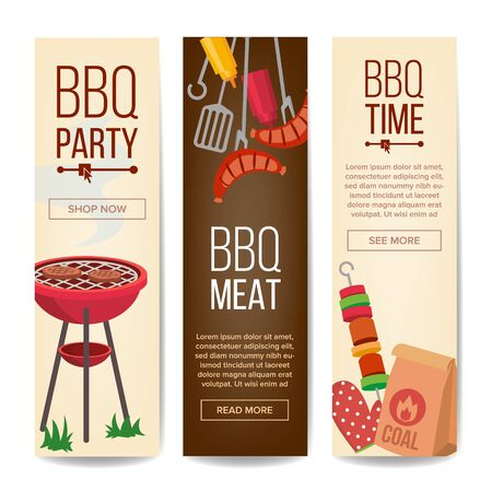 BBQ Vertical Promotion Banners . Barbecue, Charcoal, Hamburgers Isolated Imagens