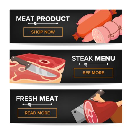 Meat Product Horizontal Promo Banners . Beef And Pork Sausage. For Butcher Shop Promo. Isolated Archivio Fotografico - 128792528