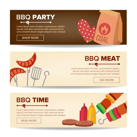 BBQ Horizontal Promo Banners . Barbecue Web Background. Grilled Meat Assortment. Grilled Steak, Sausages, Vegetables. Isolated Archivio Fotografico - 128792530