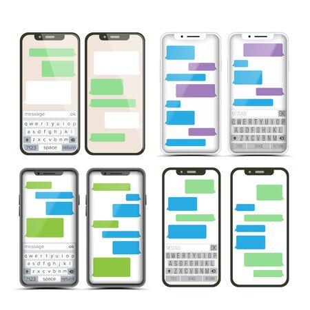 Messenger . Speech Bubbles. Phone Chat Interface. Realistic Smartphone. Communication Concept. Isolated Illustration Standard-Bild - 128792520