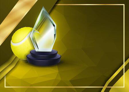 与玻璃战利品传染媒介的网球证明文凭。体育奖模板。成就设计。荣誉背景。A4水平。插图
