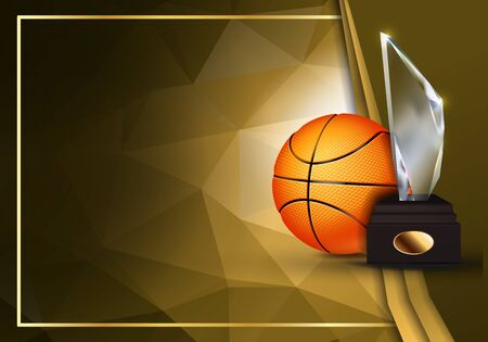 Basketball Certificate Diploma With Glass Trophy Vector. Sport Graduation. Elegant Document. Luxury Paper. A4 Horizontal. Championship Illustration