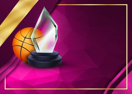 Basketball Certificate Diploma With Glass Trophy Vector. Sport Award Template. Achievement Design. Honor Background. A4 Horizontal. Illustration