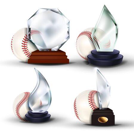 Baseball Game Award Set Vector. Ball, Glass Trophy. Tournament. Design For Sport Promotion. Certificate, Diploma. Event Announcement. Advertising Illustration Illustration
