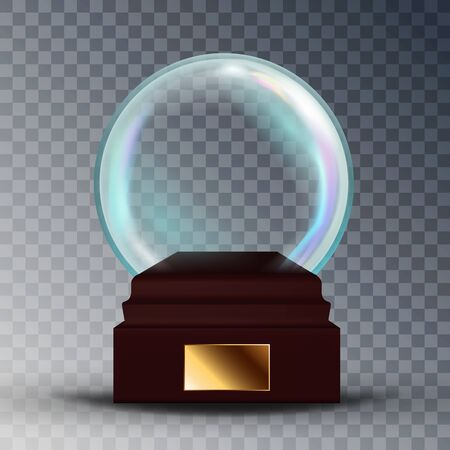 Empty Snow Globe Vector. Shadows, Reflection And Lights. Glass Sphere On A Stand. Isolated On Transparent Background