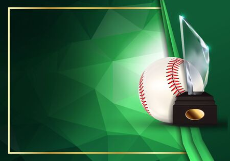Baseball Certificate Diploma With Glass Trophy Vector. Sport Graduation. Elegant Document. Luxury Paper. A4 Horizontal. Championship Illustration