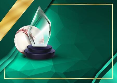 Baseball Certificate Diploma With Glass Trophy Vector. Sport Award Template. Achievement Design. Honor Background. A4 Horizontal. Illustration Illustration