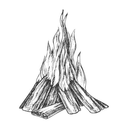Traditional Burning Bonfire Monochrome Vector. Hiking Fiery Wooden Sticks Bonfire Fireplace. Hot Forks Of Flame And Wood Timber Hand Drawn In Retro Style Black And White Illustration