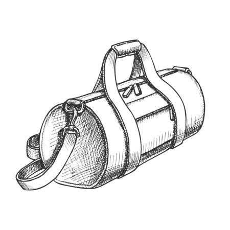 Zylindrische Sportgepäcktasche Monochrom Vektor. Modernes Sportkoffer-Paket für Sportlersachen und Turnschuhe. Handgepäck Koffer im Vintage-Stil Schwarz-Weiß-Illustration gezeichnet
