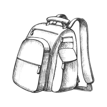 Modern Tourist Backpack Suitcase Monochrome Vector. Standing Suitcase Bag For Trip Accessories. Tourism Sport Equipment For Hike Designed In Retro Style Black And White Illustration