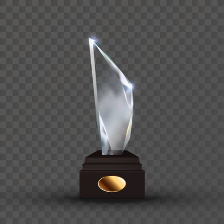 Reflection Glass Trophy In Crystal Shape Vector. Glossy Trophy On Wooden Pedestal With Empty Golden Oval Plate. Sport Reward For First Place Championship Template Realistic 3d Illustration