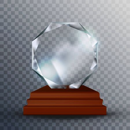 Modern Reflection Blank Glass Trophy Award Vector. Concept Of Glossy Blank Round Trophy On Wooden Pedestal. Clear Prestigious Prize Reward Scientist Or Inventor Template Realistic 3d Illustration