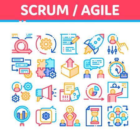 Scrum Agile Collection Elements Vector Icons Set Thin Line. Agile Rocket And Document File, Gear And Package, Loud-speaker And Stop Watch Concept Linear Pictograms. Color Contour Illustrations Иллюстрация