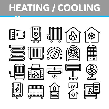 Heating And Cooling Collection Vector Icons Set Thin Line. Cool And Humidity, Airing, Ionisation And Heating Concept Linear Pictograms. Conditioning Related Black Contour Illustrations