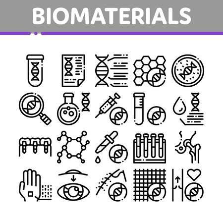 Biomaterials Collection Elements Vector Icons Set Thin Line. Biology And Science Flasks, Bioengineering, Dna And Medicine Vaccine Biomaterials Concept Linear Pictograms. Black Contour Illustrations Иллюстрация