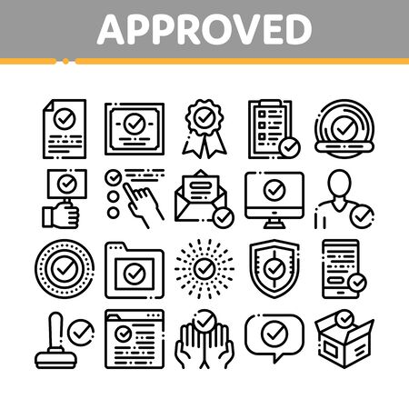 Approved Collection Elements Vector Icons Set Thin Line. Approved Sings On Document File And Hands, Computer Monitor And Smartphone Display Concept Linear Pictograms. Black Contour Illustrations