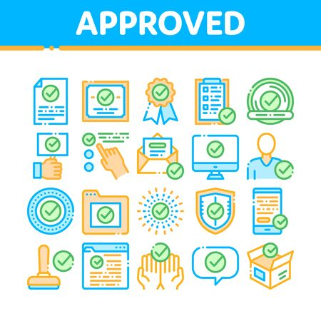 Approved Collection Elements Vector Icons Set Thin Line. Approved Sings On Document File And Hands, Computer Monitor And Smartphone Display Concept Linear Pictograms. Color Contour Illustrations