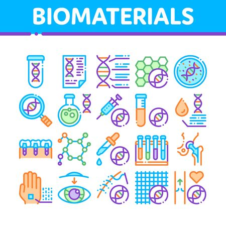 Biomaterials Collection Elements Vector Icons Set Thin Line. Biology And Science Flasks, Bioengineering, Dna And Medicine Vaccine Biomaterials Concept Linear Pictograms. Color Contour Illustrations