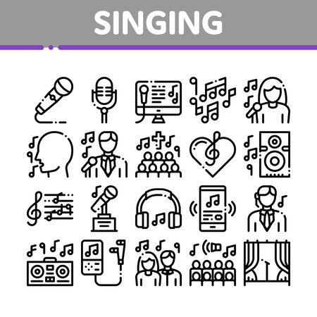 Singing Song Collection Elements Vector Icons Set. Singer And Musical Notes, Microphone And Headphones, Concert, Opera And Singing In Karaoke Concept Linear Pictograms. Black Contour Illustrations
