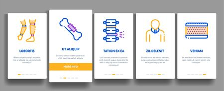Orthopedic Elements Vector Onboarding Mobile App Page Screen. Contour Illustrations
