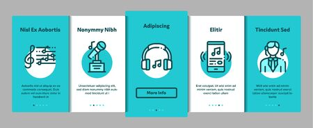 Singing Song Elements Vector Onboarding Mobile App Page Screen. Contour Illustrations