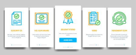 Approved Elements Vector Onboarding Mobile App Page Screen. Contour Illustrations 向量圖像