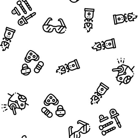 Alpinism Seamless Pattern Vector Linear Pictograms. Black Contour Illustrations