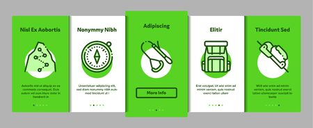 Alpinism Elements Vector Onboarding Mobile App Page Screen. Contour Illustrations Illustration