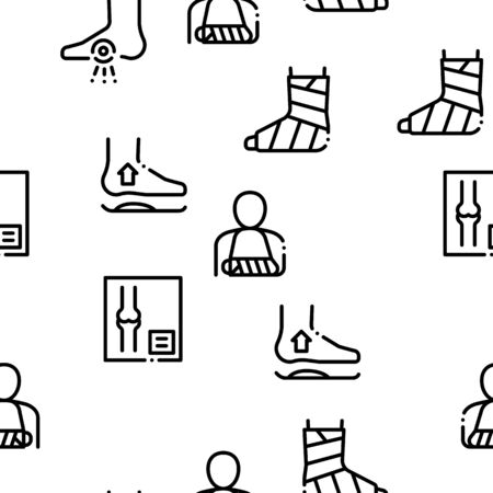 Orthopedic Seamless Pattern Vector Linear Pictograms. Black Contour Illustrations
