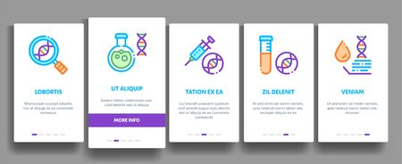 Biomaterials Elements Vector Onboarding Mobile App Page Screen. Contour Illustrations Иллюстрация