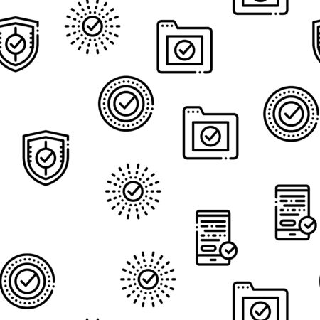Approved symbols Seamless Pattern Vector Linear Pictograms. Black Contour Illustrations