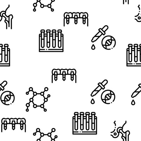 Biomaterials Seamless Pattern Vector Linear Pictograms. Black Contour Illustrations Иллюстрация
