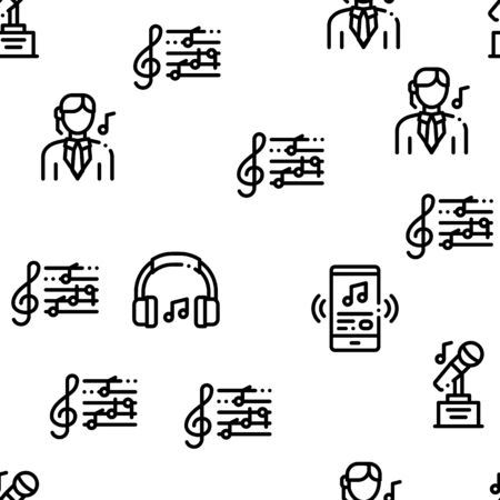 Singing Song Seamless Pattern Vector Linear Pictograms. Black Contour Illustrations Illustration